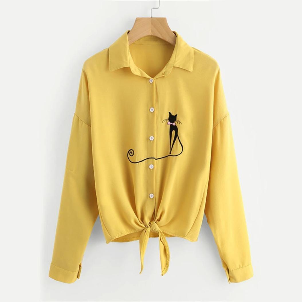 ❤ Camisa Bordada del Dobladillo del Gato, Camisa de Dobladillo Anudada de Mujer Camisa de Manga Larga de Blusa de Manga Larga Absolute: Amazon.es: Ropa y ...