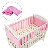 Crib Liner, Breathable Mesh Baby Bed Bumper to Ensure Kids Safety and Smooth Breathing, Nursery Cot bedding set (Pink)