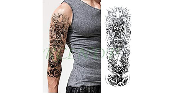 ljmljm 5pcs Impermeable Etiqueta engomada del Tatuaje Cruz Angel ...