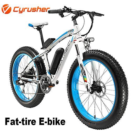 Cyrusher XF660-500W Mountain Bike Electric Bike 26 '' 4.0 Fat Tire Mountain Ebike 48V 13ah bike with Lithium-Ion Battery for Christmas(Blue)