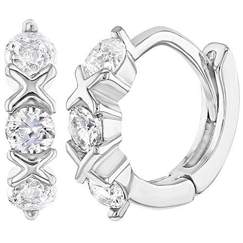 219998223021 In Season Jewelry - 925 Plata de Ley Circonita Clara XO Aros Pequeños para  Niñas 9mm