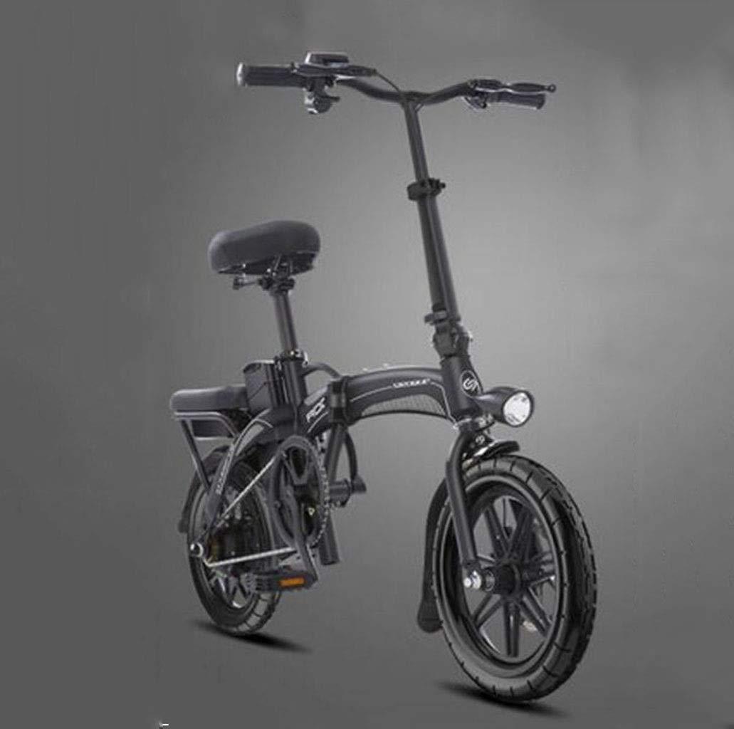 自転車折りたたみ電動自転車大人小型14インチ電動自転車原付け日常のスポーツやサイクリングに最適 (Color : 黒)