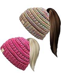 BT2-3847-2-816.4142 Kids Beanie Tail Bundle - Rainbow #11 & Red/Pink #10 (2 Pack)
