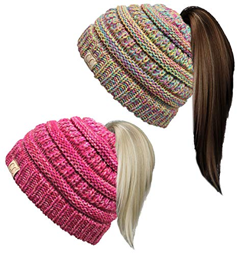 BT2-3847-2-816.4142 Kids Beanie Tail Bundle - Rainbow #11 & Red/Pink #10 (2 Pack) (Sock Ponytail)
