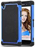 Sony Xperia Z1 Case,MANDYCOWRY Solid Shockproof Silicone + Hard Case Cover Stylish Design Dual layer Protection Defender Anti-scratch Anti-slip Hard Slim Case Cover for Sony Xperia Z1(Black/Blue)