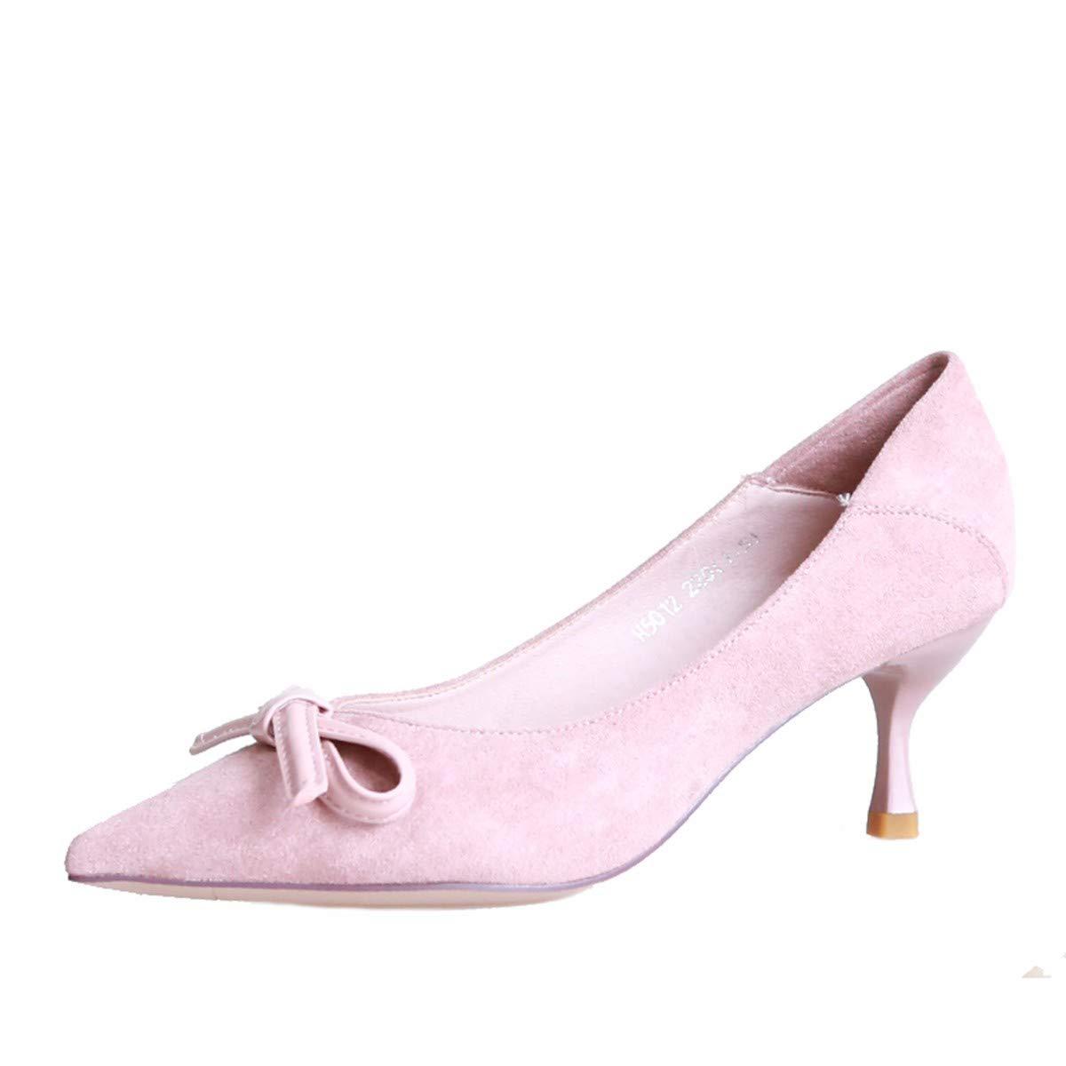 KPHY Damenschuhe/Herbst Mode Bogen Sagte Sagte Sagte Schuhe Dünne Heels Flachen Mund Schuhe Süß Einzelne Schuhe.38 Pink  - 2dc42b