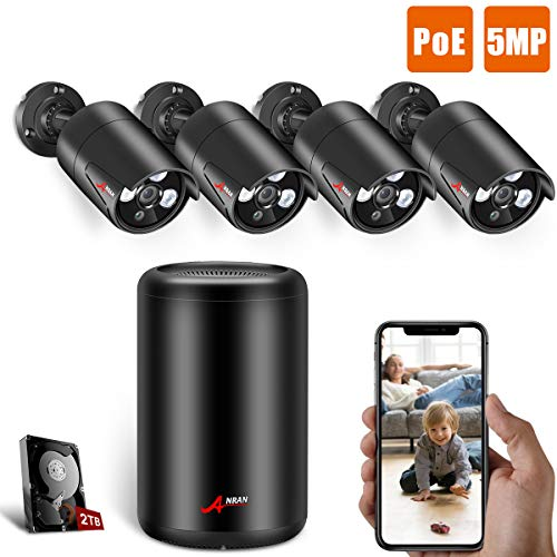 【New NVR】 5MP PoE Home Security Camera System, ANRAN 4CH NVR Video Security System with 2TB HDD, 4pcs 5MP(5 Megapixels) Outdoor Surveillance PoE Bullet IP Cameras for 7/24 Recording, Motion Detection