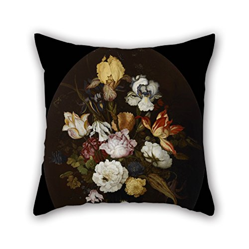 (TonyLegner Oil Painting Balthasar Van Der AST - Still Life of Flowers in A Glass Vase Pillowcase 16 X 16 Inches / 40 by 40 cm for Gf Living Room Teens Boys Chair Son Kids Room with Twice Sides)