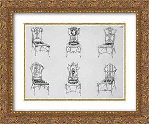 Ackermann & Co, London - 36x28 Gold Ornate Frame and Double Matted Museum Art Print - A Useful and Modern Work on Chairs, in Twelve Plates, Containing Forty-Two Designs