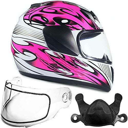 Typhoon Helmets Youth Kids Full Face Snowmobile Helmet DOT Dual Lens Snow Boys Girls - Pink (Medium) -