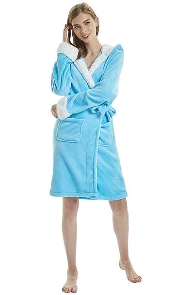 OKSakady Mujer Franela Unicornio Encapuchado Bata de Baño Kimono Ropa de Dormir con Lana Recortar: Amazon.es: Ropa y accesorios