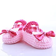 SPHTOEO Baby Newborn Infant Girls Double Bowknots Crochet Knit Socks Crib Casual Shoes Prewalker (Pink)