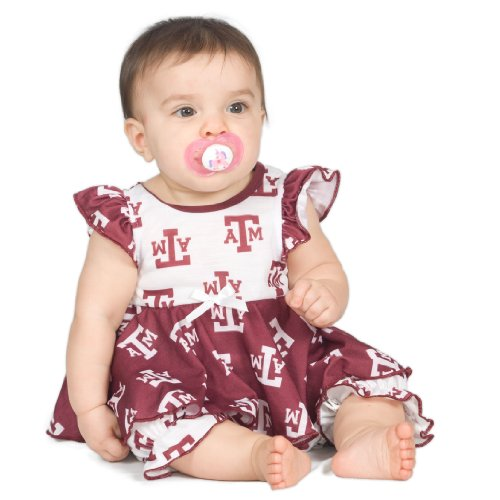 Texas A&M University Aggie Baby Girls Frilly Infant Jumpsuit, Size 06m