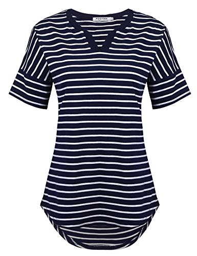 (POGTMM Henley Shirts for Women, Womens V Neck Short Sleeve Casual Loose Fit Cotton Tunic Blouses Tops (Navy Blue-V, US M(8-10)))