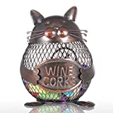 Tooarts Practical Kitten Wine Cork Container Iron Piggy Bank Handcraft Home Decoration Gift