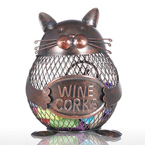 Tooarts Practical Kitten Wine Cork Container Iron Piggy Bank Handcraft Home Decoration Gift