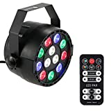 Lixada 15W 12LEDs RGBW Sound Activate DMX-512 LED Stage PAR Light Strobe Professional 8 Channel Party Disco Show with Remote Controll