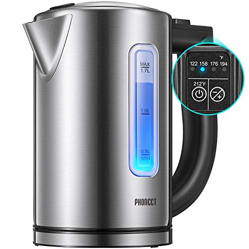- Electric Kettle Temperature Control, Ultra Fast Boiling Tea Kettle with Multi Temp Selection, LED Temp indicator and Transparent Window, Full Stainless Steel BPA free material, 1.7 Liter Capacity, 1500W, by Phonect