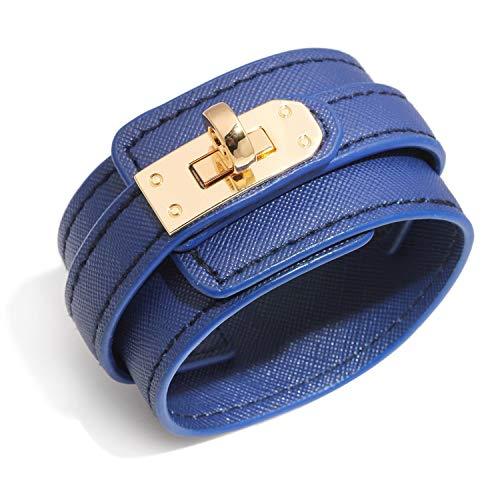 Designer Inspired Wide Cuff Multilayer Leather Wrap Bracelet Unisex 23cm 9 inch Length ()