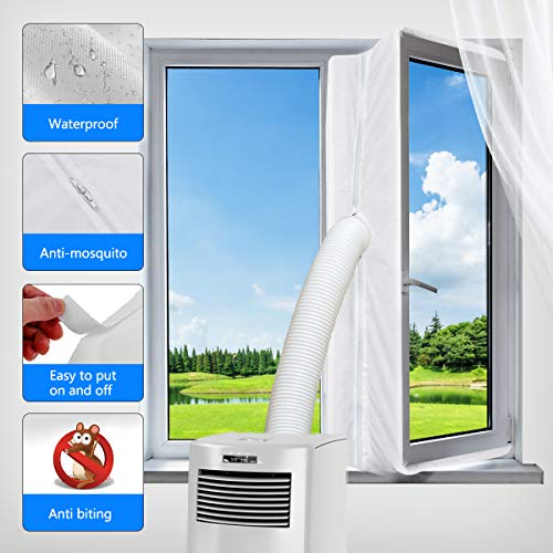 gulrear Airlock Window Seal for Portable Air Conditioner and Tumble Dryer Room Air Conditioning Casement Window Vent kit Hot Air Stop Air Exchange Guards with Zip and Adhesive Fastener(White