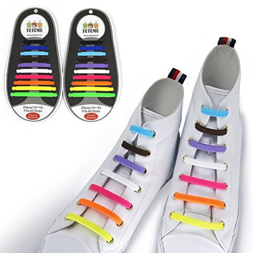 TOTOMO Rainbow Elastic Silicone No Tie Shoelaces for both Adults & Kids Sneakers Flat Running Shoe laces Tieless - Multicolored Lace