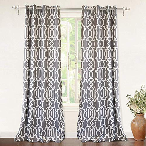 2 Panel Curtain Set - DriftAway Abigail Trellis Room Darkening/Thermal Insulated Grommet Unlined Window Curtains, Set of Two Panels, Each 52