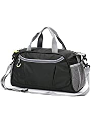 Sports Gym Duffel Bag,Fomatrade Waterproof Large Outdoor Travel Holdall Overnight Weekender Luggage Bag Shoes Compartment Men Women(Black)
