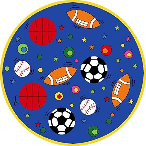 Kids Round Rug Sports Ball Blue Learning Area Rug - Non Slip Bottom (8' 8