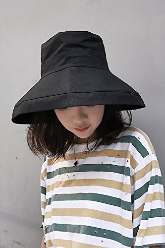 Linen Awning Solid (Generic  Day cotton_linen_solid_color_ large _awnings hat women girls _leisure_wild_ summer _visor_foldable_basin_ cap hat)