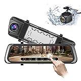 junsun Mirror Dash Cam 10 inch 1080P Full Touch Screen Stream Media Front Rear Dual Lens Dashboard Recorder Waterproof Reversing Camera