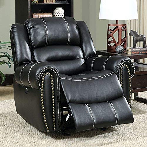Benzara BM131889 Leatherette Power Assist, Black Frederick Glider Recliner Single Chair,