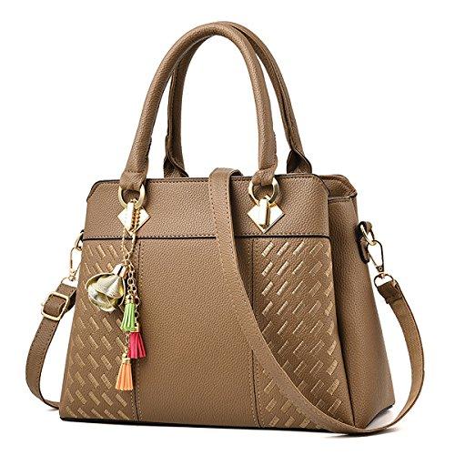 Coolives Los bolsos superiores de cuero de las señoras que conmutan el bolso elegante del bolso para las mujeres Beige