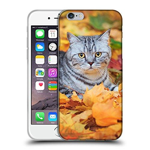 """Just Phone Cases Coque de Protection TPU Silicone Case pour // V00004204 Chat sur les feuilles mortes // Apple iPhone 6 6S 6G PLUS 5.5"""""""