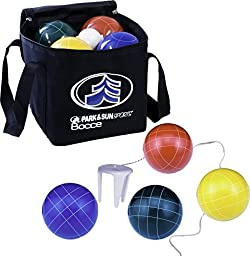 Park & Sun Sports Bocce Ball Set with Deluxe Carrying Bag: PRO, 109 mm Poly-Resin Balls