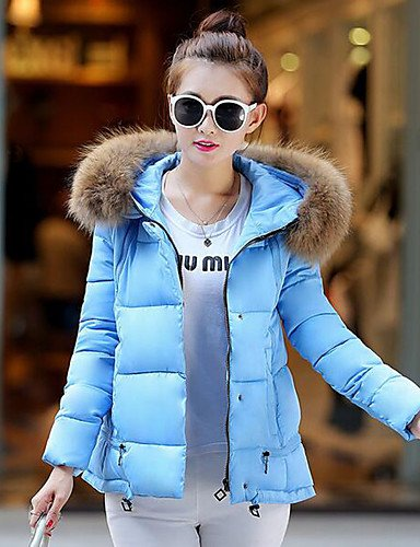Polyester Solid Without Blue Simple Chic Cotton Filling Casual Sleeves Daily Regular ZHUDJ Street Holiday XL Down Cute Material Hooded Long Coat Women'S xPg6Pw4qO