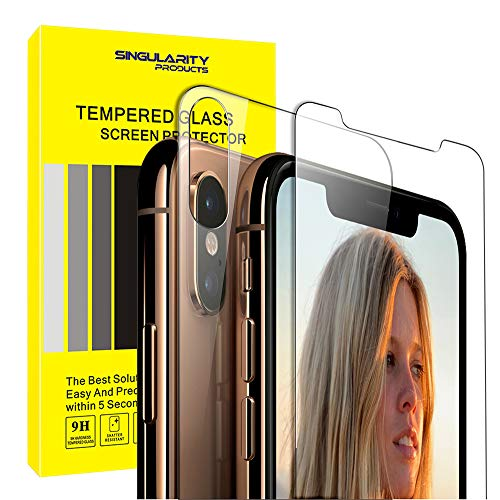 Singularity Products iPhone Xs Max Front Back Screen Protector, Tempered Glass Screen Protectors HD Clear Anti Fingerprint Front Back Glass Protector Film Compatible iPhone Xs Max 6.5 inch.