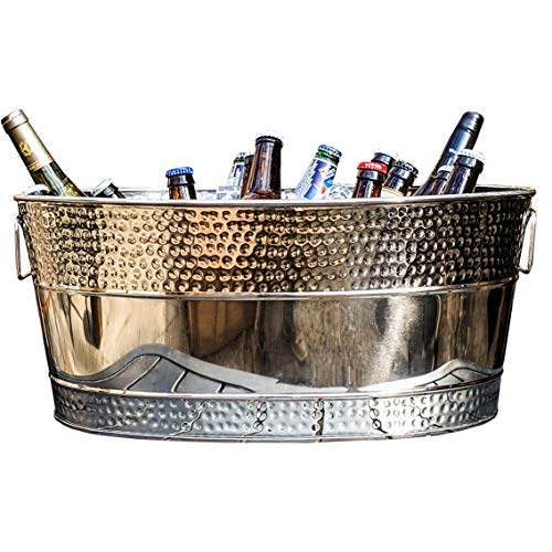 BREKX Aspen Hammered Stainless Steel Beverage Tub & Party Drink Chiller - 25 Quarts - Mirror-Silver (Bucket Drinks Steel)