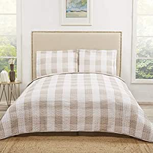 Amazon Com 3 Piece Tan Plaid King Quilt Set White Khaki