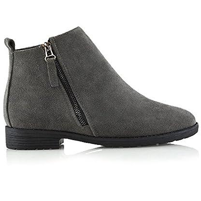 ESSEX GLAM Womens Chelsea Block Heel Riding Biker Metal Zip Ladies Flat Ankle Boots Size 3-8 2