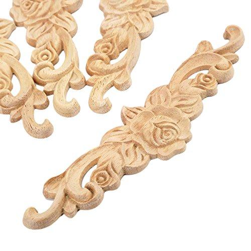 MUXSAM 1pc 20x5cm Wood Carved Long Onlay Applique Unpainted Rose Flower Door Home Decor European Style