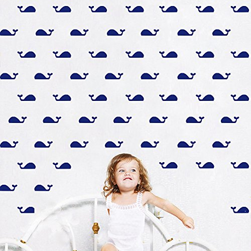 (HACASO 95 PCS 1.18 by 3.1 Inches Cute Little Whale Wall Decal Sticker For Kids Bedroom Decor -DIY Home Decor Vinyl Whale Mural Baby Nursery Room Wallpaper(Navy Blue))