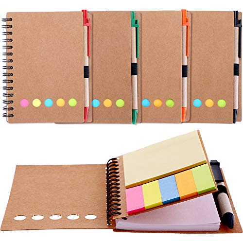 500 Notepads - Gejoy 4 Pieces Spiral Notebook Kraft Brown Cover Notepad, Include Lined Blank Page, 4 Colors Pen and 6 Colors Sticky Notes