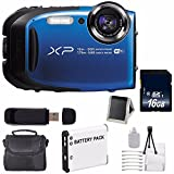 Fujifilm FinePix XP80 16.4 MP CMOS WiFi WaterProof Digital Camera (Blue) + Battery + 16GB SDHC Memory Card + Carrying Case + Deluxe Starter Kit 6AVE Bundle