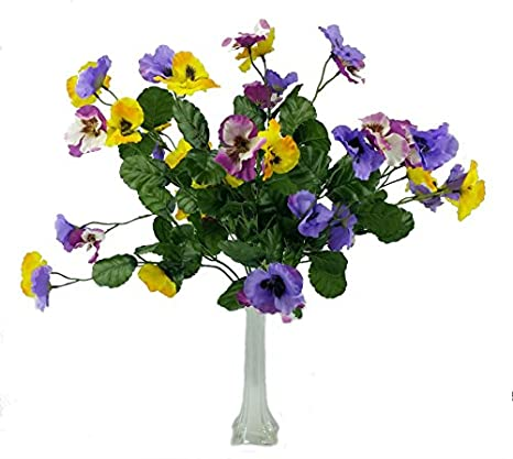 MM TJ Products Artificial Pansy Bush: 7 stems Pack of 2 + Eiffel Tower Vase (10'-White)