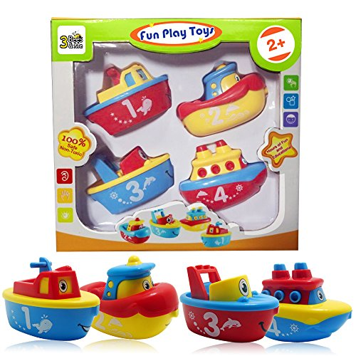 Born Free Gift Set - 3 Bees & Me Bath Toys for Boys and Girls - Magnet Boat Set for Toddlers & Kids - Fun & Educational