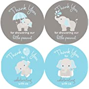 2 Inch Thank You Stickers Gray Elephant Set of 60 (Blue)