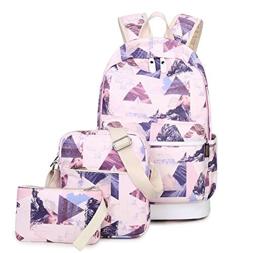 Girls School Backpack and Lunch Bag Set of 3 Cute Bookbag 14inch Laptop for Teens Lightweight Kemys(Colorful Pink Triangle )