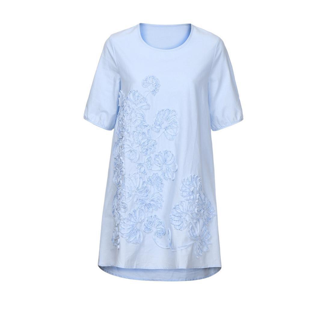 0e9ed2e0a4 Amazon.com  MIARHB Women s Cotton Linen Dress Loose Casual Short Sleeve  Floral Printed Mini Dresses  Clothing