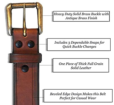 """R.G. BULLCO - USA MADE - 1-1/2"""" Full Grain Premium Belt with Solid Thick Leather & Roller Buckle"""