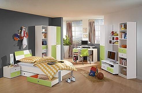 Jugendzimmer In Weiß/Apfel, 2 Trg. Schrank, Regalelement, Bett 90x200